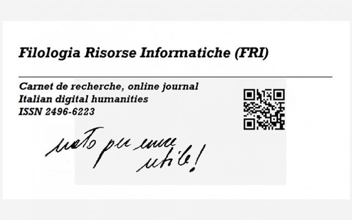"""Filologia Risorse Informatiche (FRI), """"Nato per essere utile"""""""