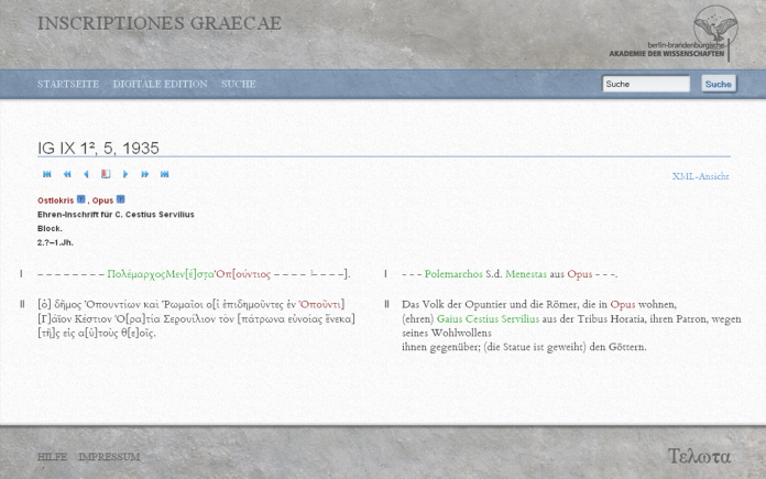 a screenshot of Inscriptiones Graecae